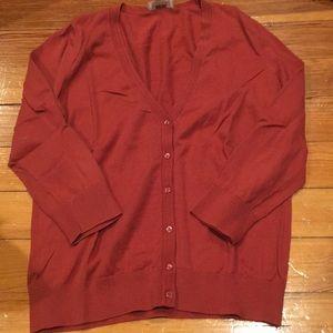 Rust red LOFT cardigan